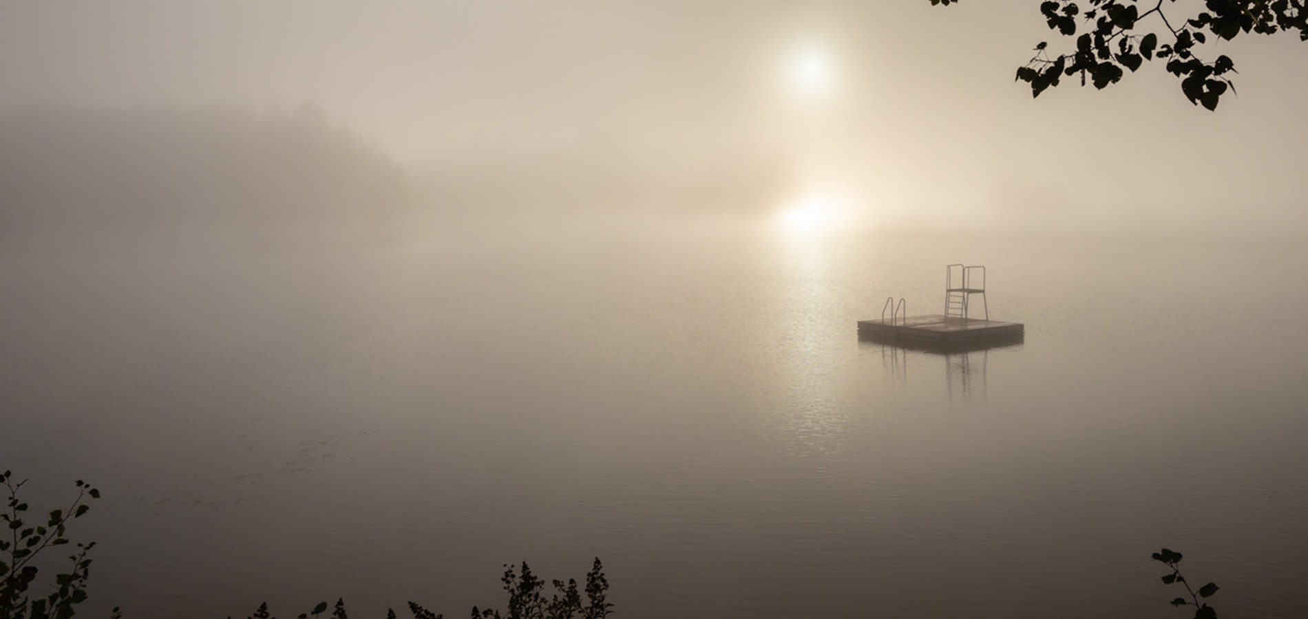 lake covered in early morning mist at sunrise by katja photography