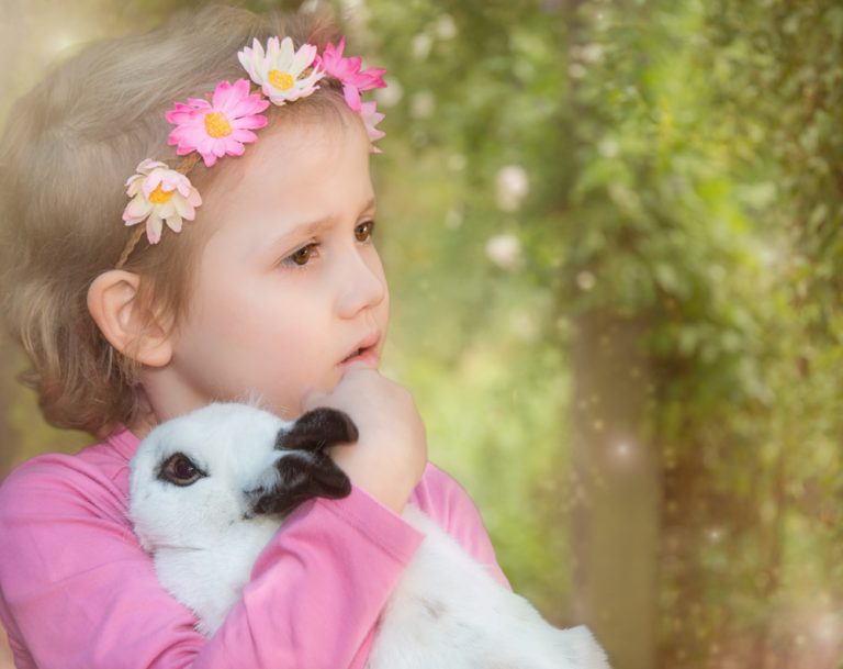 fine art portrait of a toddler girl dressed in pink holding a bunny by katja photography