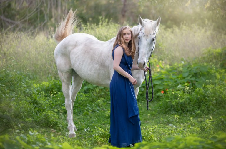 lifestyle portrait of beautiful woman and white horse by katja photography