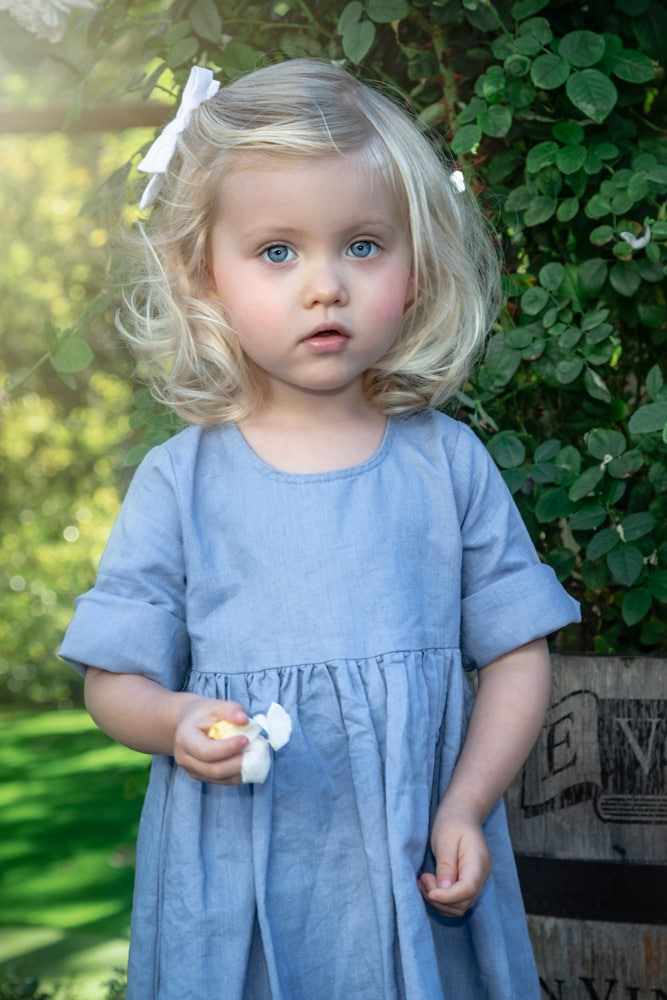 lifestyle portrait of toddler girl dressed in blue with blond hair holding petals by katja photography