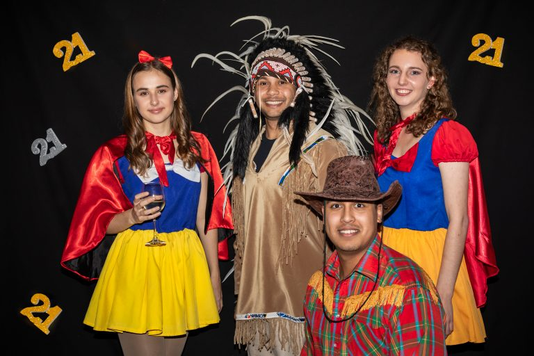portrait of a group of teens dressed in fancy dress at 21st birthday by katja photography