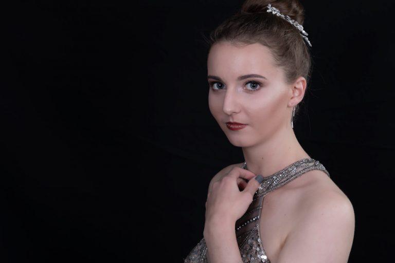 studio portrait of teen girl in evening dress by katja photography